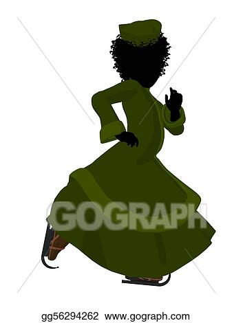 b612a84dff6 Drawings - African american victorian girl ice skating illustration ...