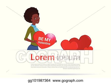 Vector Stock African American Woman Holding Heart Shape Over White