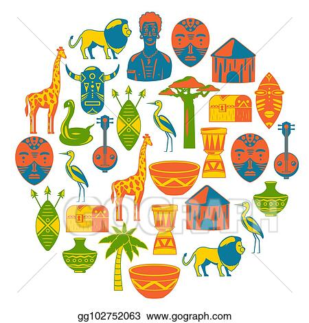 EPS Illustration - African banners  africa icons and design elements