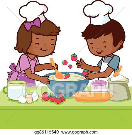 vector art african children cooking in the kit clipart drawing rh gograph com Cooking Clip Art Black and White Cooking Clip Art Black and White