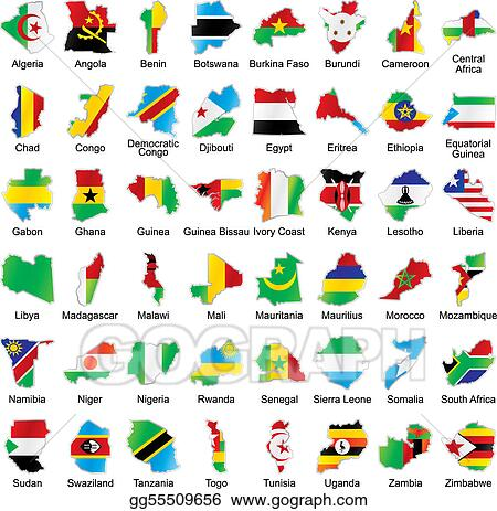 African Flags In Map Shape With Details