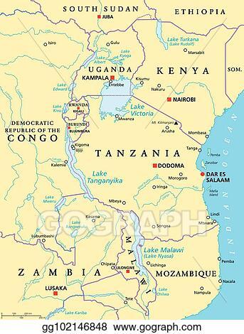 Lake Nyasa Africa Map.Vector Art African Great Lakes Political Map Eps Clipart
