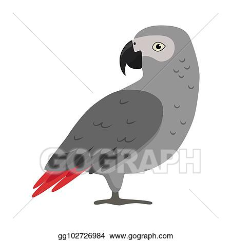 Vector Illustration - African grey parrot silhouette icon in