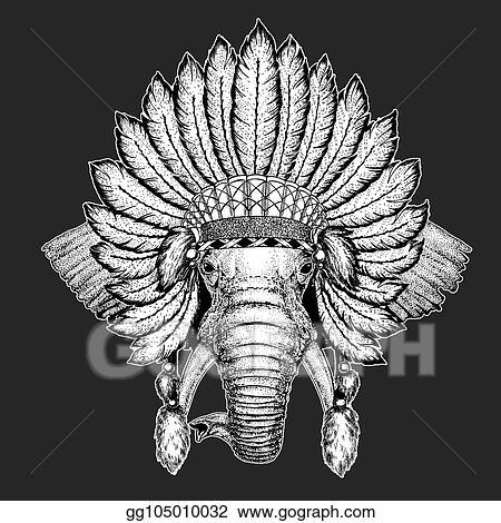 79e65ee3da333 African or indian Elephant Traditional ethnic indian boho headdress Tribal  shaman hat Ceremonial element