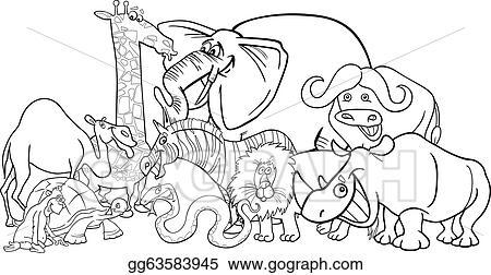Vector Stock African Safari Animals Cartoon For Coloring Stock