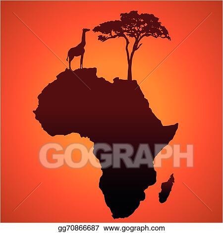 Vector Stock - African safari map silhouette vecto  Clipart