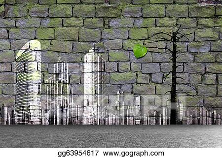 Drawing Aged Street Wall Background Ecology Concept