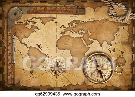 Drawing aged treasure map ruler rope and old brass compass still aged treasure map ruler rope and old brass compass still life gumiabroncs Images