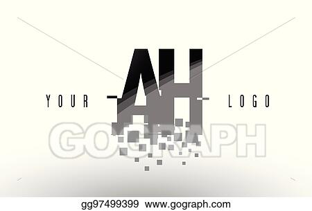 EPS Vector - Ah a h pixel letter logo with digital shattered