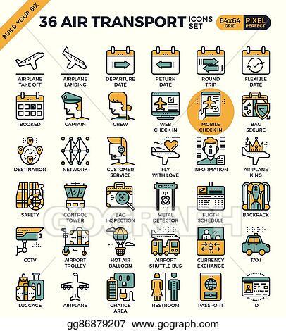EPS Illustration - Air transport & travel outline icons