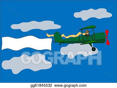 Vector Art Airplane Banner Biplane Vector Illustration