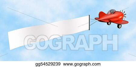 Stock Illustrations Airplane With Banner Isolated Stock