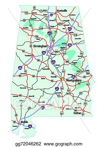 Eps Vector Alabama Interstate Highway Map Stock Clipart