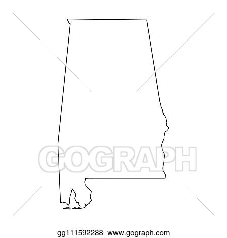 Vector Clipart Alabama State Of Usa Solid Black Outline