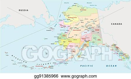 Political Map Of Alaska.Vector Illustration Alaska Administrative Map Stock Clip Art