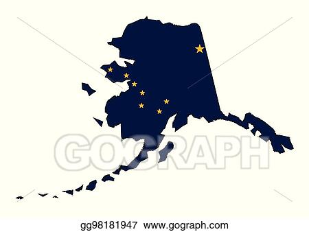 Clip Art Vector - Alaska state outline map and flag. Stock EPS ...