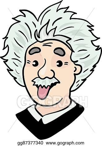 vector art albert einstein portrait with tongue out clipart rh gograph com albert einstein cartoon albert einstein cartoon character