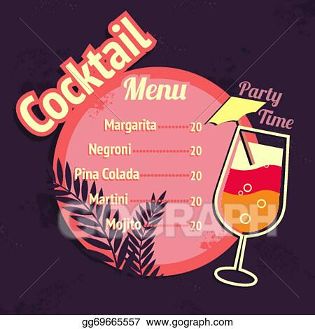 Alcohol Tails Drink Menu Card Template