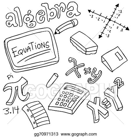 vector illustration algebra symbols and objects eps clipart rh gograph com algebra symbols clip art algebra clipart free