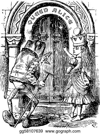 Alice and the Frog at the Door - Through the Looking Glass and what Alice Found There original book engraving  sc 1 st  GoGraph & Vector Illustration - Alice and the frog at the door - through the ...