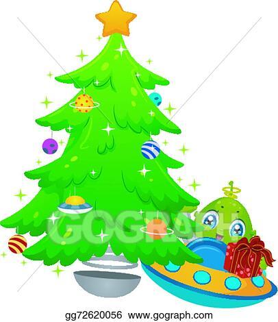 Vector Art Alien Christmas Tree Gift Clipart Drawing Gg72620056