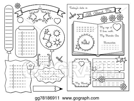 Vector Art All About Me School Printable Clipart Drawing