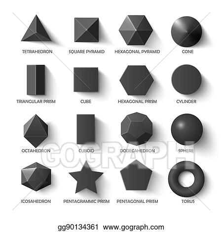 clip art vector all basic 3d shapes template in dark stock eps