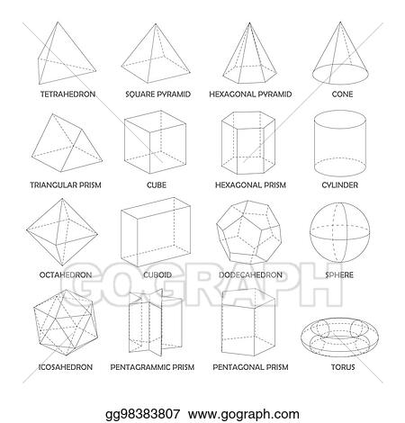 vector illustration all basic 3d shapes template realistic with