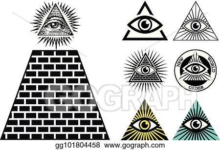 Eps Vector All Seeing Eye Icons Set Pyramid Illuminati Symbol