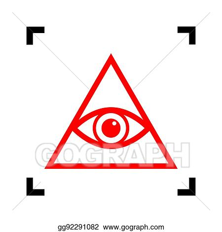 All Seeing Eye Pyramid Symbol Freemason And Spiritual Vector Red Icon Inside Black Focus Corners On White Background Isolated
