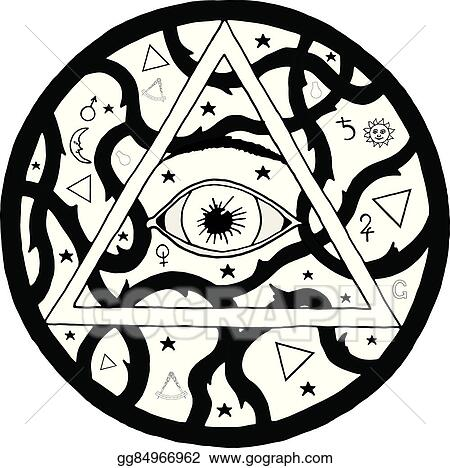 Vector Art All Seeing Eye Pyramid Symbol In Tattoo Engraving