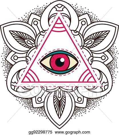 Vector Stock All Seeing Eye Pyramid Symbol Clipart Illustration