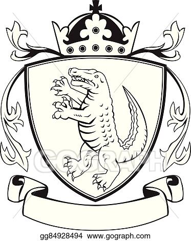 vector clipart alligator standing coat of arms black and white vector illustration gg84928494 gograph alligator standing coat of arms black