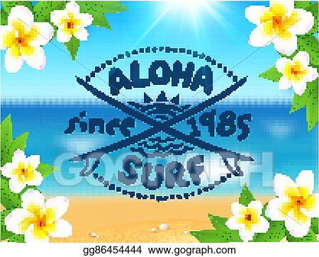 eps vector aloha surf vector logo template on blurred ocean waves