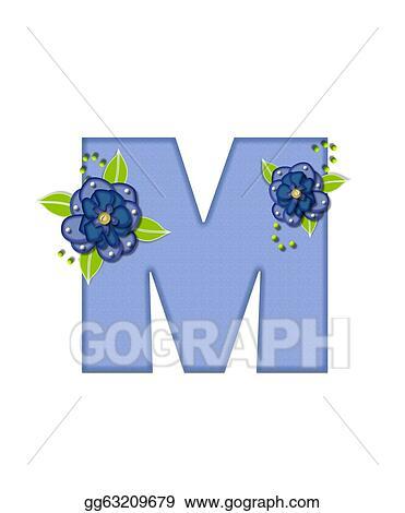 Stock Illustration Alphabet Blue Pansies M Clipart Illustrations
