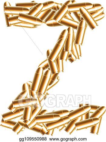 EPS Illustration - Alphabet bullet set letter z gold color