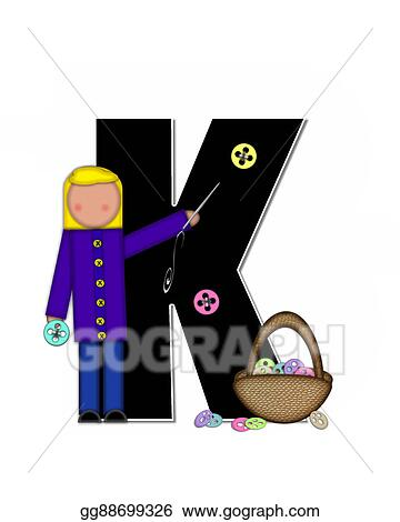 Stock Illustration Alphabet Children Sewing K Clipart Gg88699326