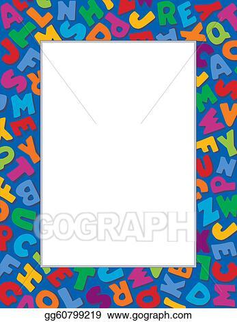 Vector Art - Alphabet frame, blue background. EPS clipart gg60799219 ...