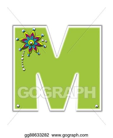 Stock Illustration - Alphabet metallica m  Clipart Drawing
