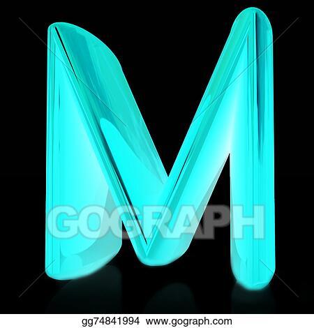 Stock Illustration Alphabet On Black Background Letter M