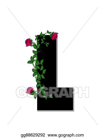 Stock Illustration Alphabet Rose Trellis L Clipart Gg88629292