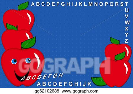 stock illustrations alphabet speaking apple blue stock clipart