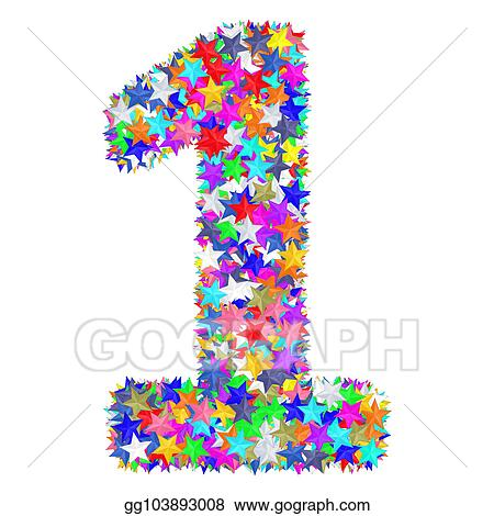 Stock Illustration Alphabet Symbol Number 1 Composed Of Colorful