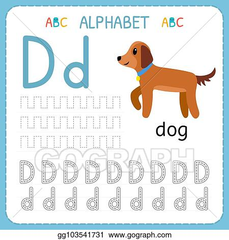 Vector Art - Alphabet Tracing Worksheet For Preschool And Kindergarten.  Writing Practice Letter D. Exercises For Kids. Clipart Drawing Gg103541731  - GoGraph