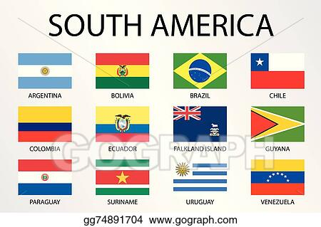 Vector Art Alphabetical Country Flags For The Continent Of South