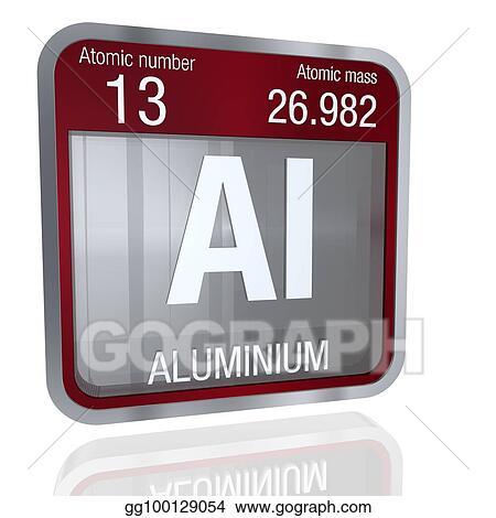 Clipart Aluminium Symbol In Square Shape With Metallic Border And