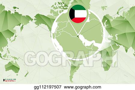 EPS Vector - America centric world map with magnified kuwait ...