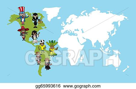 Vector stock america people cartoons world map diversity america people cartoons world map diversity illustration gumiabroncs
