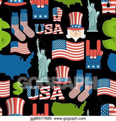 15aff2ab7811 America symbols patriotic pattern. USA national ornament. State traditional  background. Map of country and United States flag. Statue of Liberty and  Uncle ...