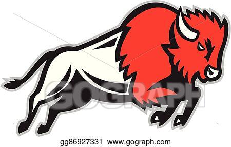 Eps Illustration American Bison Buffalo Jumping Retro